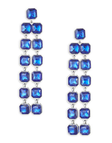 Expression Faceted Stone Drop Earrings-BLUE-One Size
