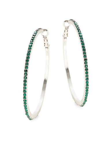 Expression Crystal Pave Hoop Earrings-GREEN-One Size