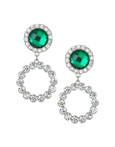 Expression Crystal O Ring Sparkling Drop Earrings-GREEN-One Size