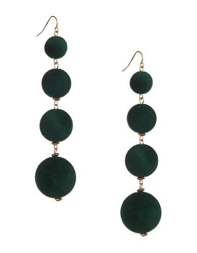 Design Lab Lord & Taylor Multi Velvet Sphere Earrings-GREEN-One Size