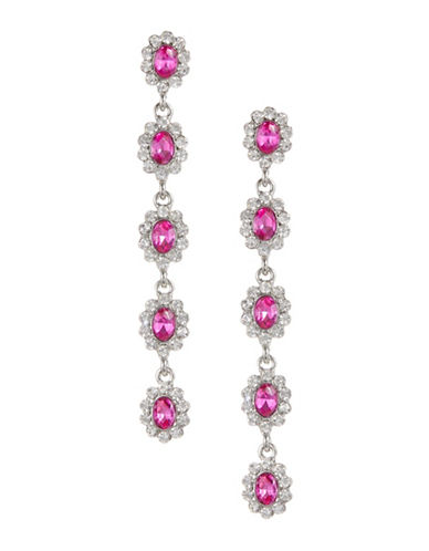 Expression Five-Crystal Oval Drop Earrings-PINK-One Size