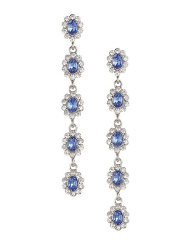 Expression Five-Crystal Oval Drop Earrings-BLUE-One Size