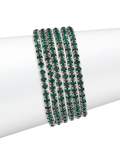 Expression Five-Piece Crystal Stretch Bracelet Set-GREEN-One Size