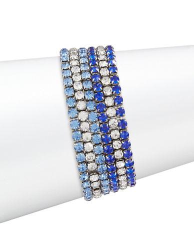 Expression Five-Piece Crystal Stretch Bracelet Set-BLUE-One Size