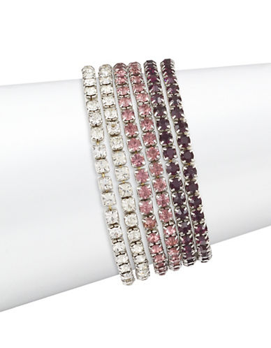 Expression Five-Piece Crystal Stretch Bracelet Set-PURPLE-One Size