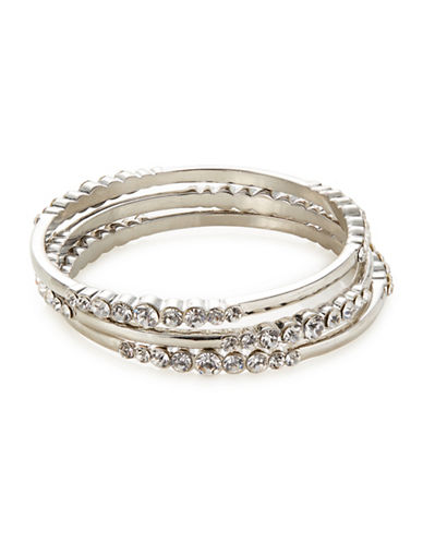 Expression Three-Piece Crystal Bangle Set-SILVER-One Size