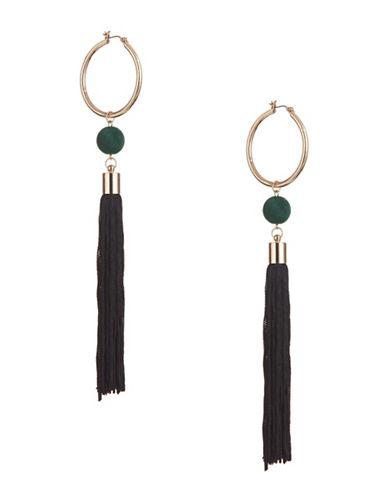 Design Lab Lord & Taylor Long Tassel Hoop Earrings-BLACK-One Size