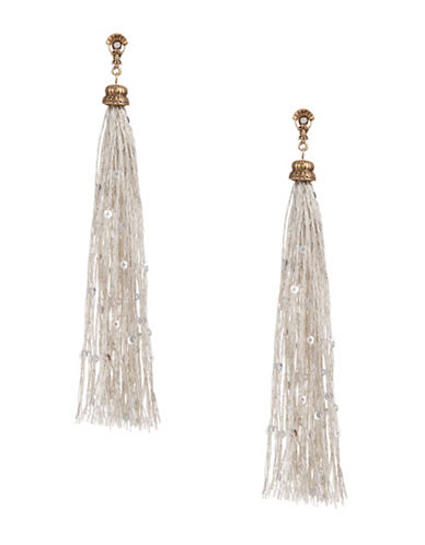 Design Lab Lord & Taylor Long Tassel Sequin Earrings-DARK GREY-One Size