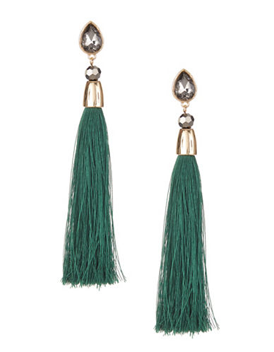 Design Lab Lord & Taylor Faceted Stone Tassel Earrings-GREEN-One Size