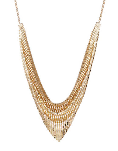 Design Lab Lord & Taylor Disco Mesh Scarf Necklace-GOLD-One Size