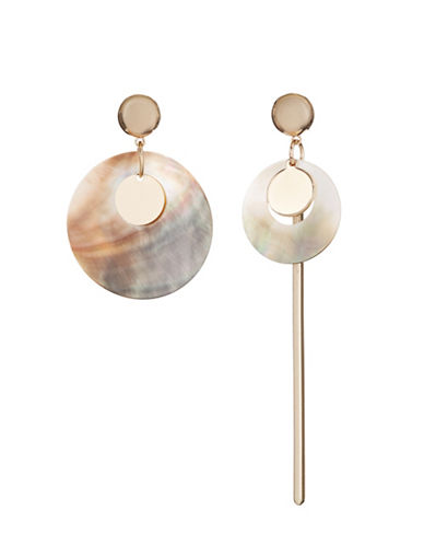 Design Lab Lord & Taylor Dangly Bar and Disc Earrings-GOLD-One Size
