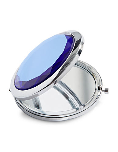 Expression Faceted Stone Compact Mirror-BLUE-One Size