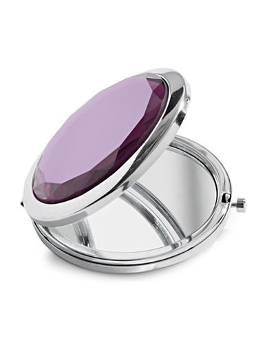 Expression Faceted Stone Compact Mirror-PURPLE-One Size