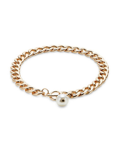 Design Lab Lord & Taylor Faux Pearl Chain Choker-LIGHT BEIGE-One Size