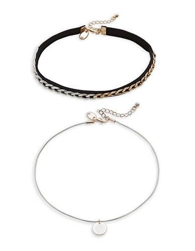 Design Lab Lord & Taylor Two Chain Chockers Set-BLACK-One Size