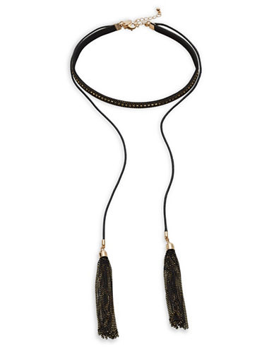 Design Lab Lord & Taylor Choker with Double Lariat Tassels-BLACK-One Size