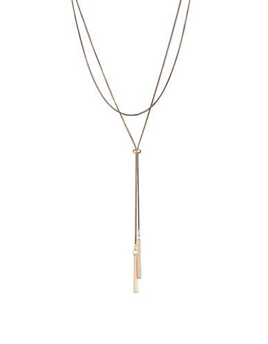 Design Lab Lord & Taylor Lariat Tie Bar Chocker-BLACK-One Size