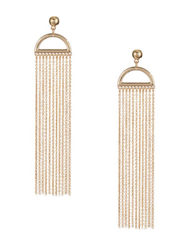 Design Lab Lord & Taylor Half Moon Chain Earrings-GOLD-One Size