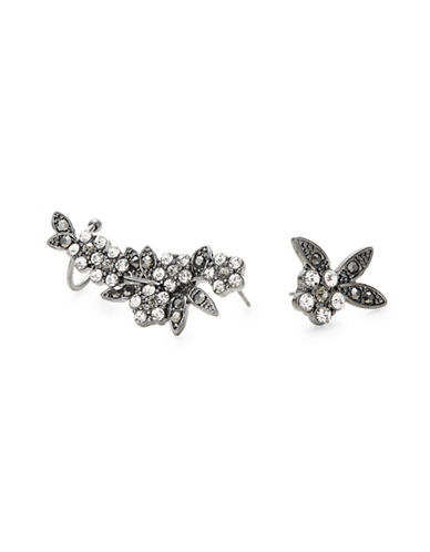 Design Lab Lord & Taylor Mismatch Floral Stone Cuff Earrings-DARK GREY-One Size