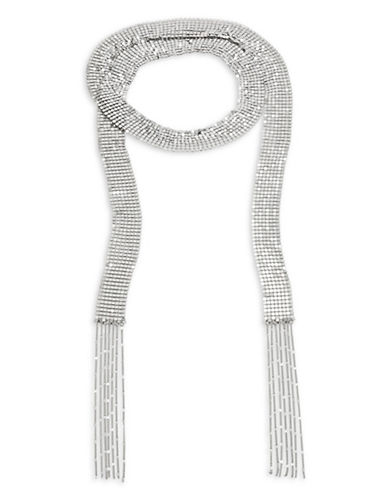 Design Lab Lord & Taylor Disco Mesh Choker Necklace-SILVER-One Size