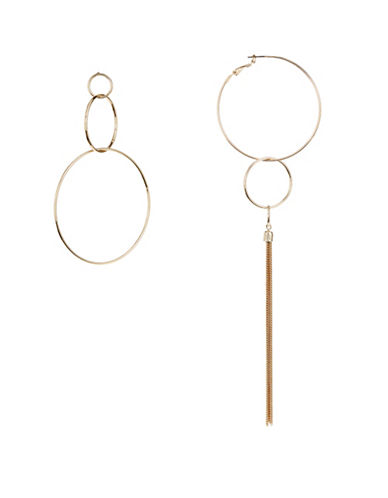 Design Lab Lord & Taylor Thin Hoop Tassel Earrings-GOLD-One Size