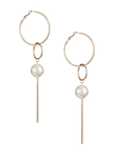 Design Lab Lord & Taylor Faux Pearl Dangle Hoop Earrings-LIGHT BEIGE-One Size