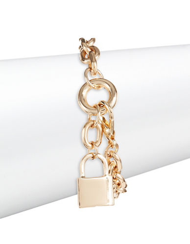Design Lab Lord & Taylor Linked Chain Lock Bracelet-GOLD-One Size