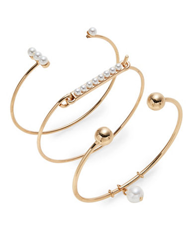 Design Lab Lord & Taylor Three Faux Pearl Bangle and Cuff Set-LIGHT BEIGE-One Size