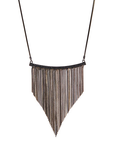 Design Lab Lord & Taylor Short Snake Chain Necklace-BLACK-One Size