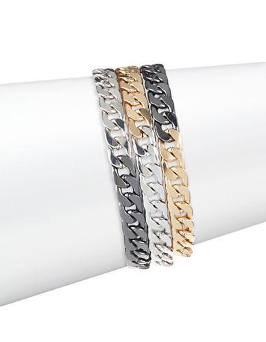 Design Lab Lord & Taylor Tri-Tone Wrap Link Chain Bracelet-BLACK-One Size