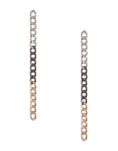 Design Lab Lord & Taylor Gradient Plated Chain Earrings-ASSORTED-One Size