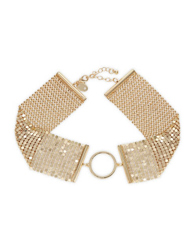 Design Lab Lord & Taylor Disco Mesh Ring Choker Necklace-GOLD-One Size