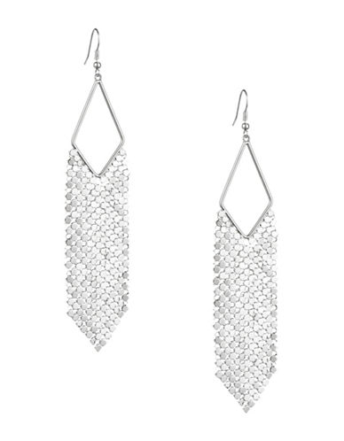 Design Lab Lord & Taylor Disco Mesh Cut Out Earrings-SILVER-One Size