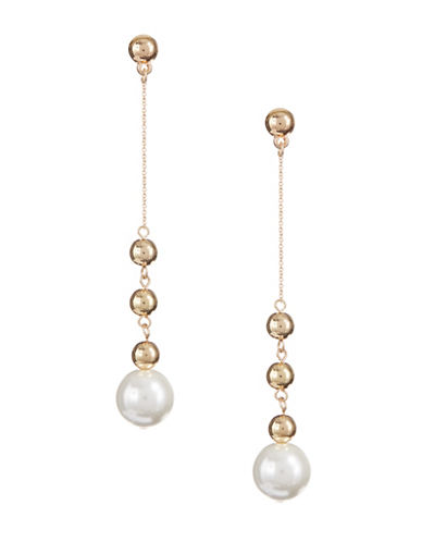 Design Lab Lord & Taylor Faux Pearl and Bead Drop Earrings-LIGHT BEIGE-One Size