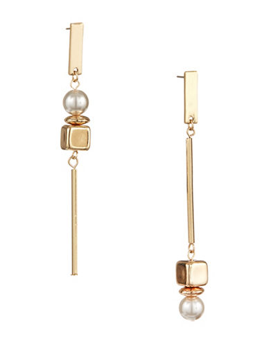 Design Lab Lord & Taylor Dangly Faux Pearl and Cube Earrings-ASSORTED-One Size