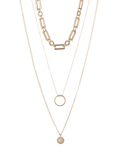 Design Lab Lord & Taylor Three Layered Necklace Set-ASSORTED-One Size