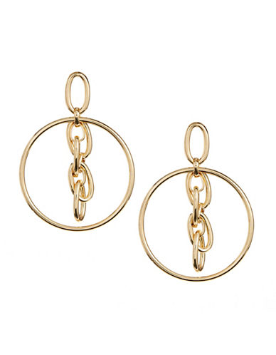 Design Lab Lord & Taylor Linked Chain Cut Out Earrings-GOLD-One Size