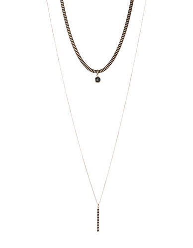 Design Lab Lord & Taylor Snake Chain Choker and Necklace Set-BLACK-One Size