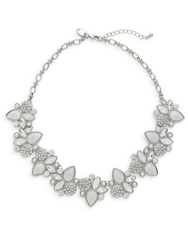 Expression Crystal Faceted Statement Necklace-SILVER-One Size