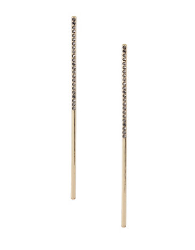 Design Lab Lord & Taylor Long Bar Stone Earrings-BLACK-One Size