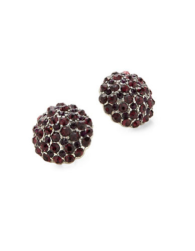 Expression Crystal Pave Stud Earrings-PURPLE-One Size