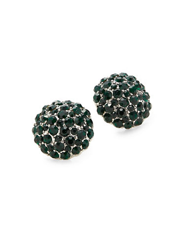 Expression Crystal Pave Stud Earrings-GREEN-One Size