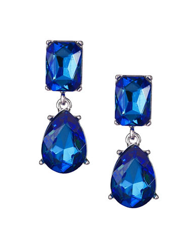 Expression Crystal Dangly Rectangular Drop Earrings-BLUE-One Size