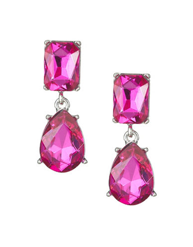 Expression Crystal Dangly Rectangular Drop Earrings-PINK-One Size