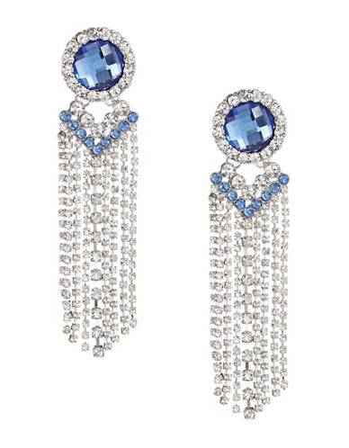 Expression Crystal Chain Tassel Chandelier Earrings-BLUE-One Size