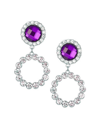 Expression Crystal O Ring Sparkling Drop Earrings-PURPLE-One Size