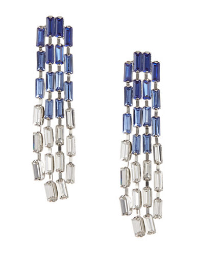 Expression Crystal Rectangular Drop Earrings-BLUE-One Size