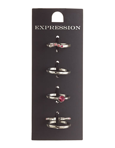 Expression Set of Five Pink Ombre Rhinestone Rings-PINK-9
