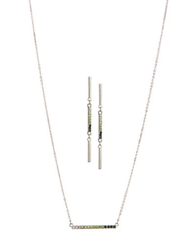 Expression Two-Piece Crystal Rectangular Bar Earrings and Necklace Set-GREEN-One Size