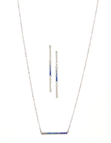 Expression Two-Piece Crystal Rectangular Bar Earrings and Necklace Set-BLUE-One Size